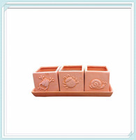 cute TerraCotta Clay Set of 3 Small Square Embossed Earthenware Planters or Herb Square Pots with Tray