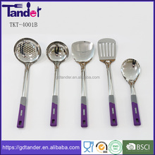 Tander stainless steel material handle plastic kitchen item utensils set