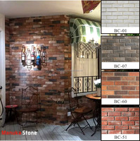 water proof thin sheet interior and exterior red cement brick for wall coating