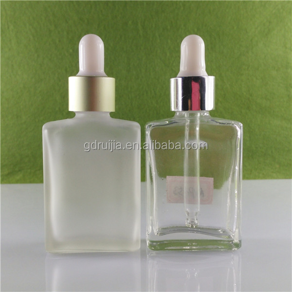 Free samples!!! hot selling in USA the 30ml rectangle glass vapor juice bottle aluminum cap and rubber topper