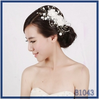 Made in China! Romantic wedding hair clips jewellery elegant fabric white flower crystal and pearl hair combs
