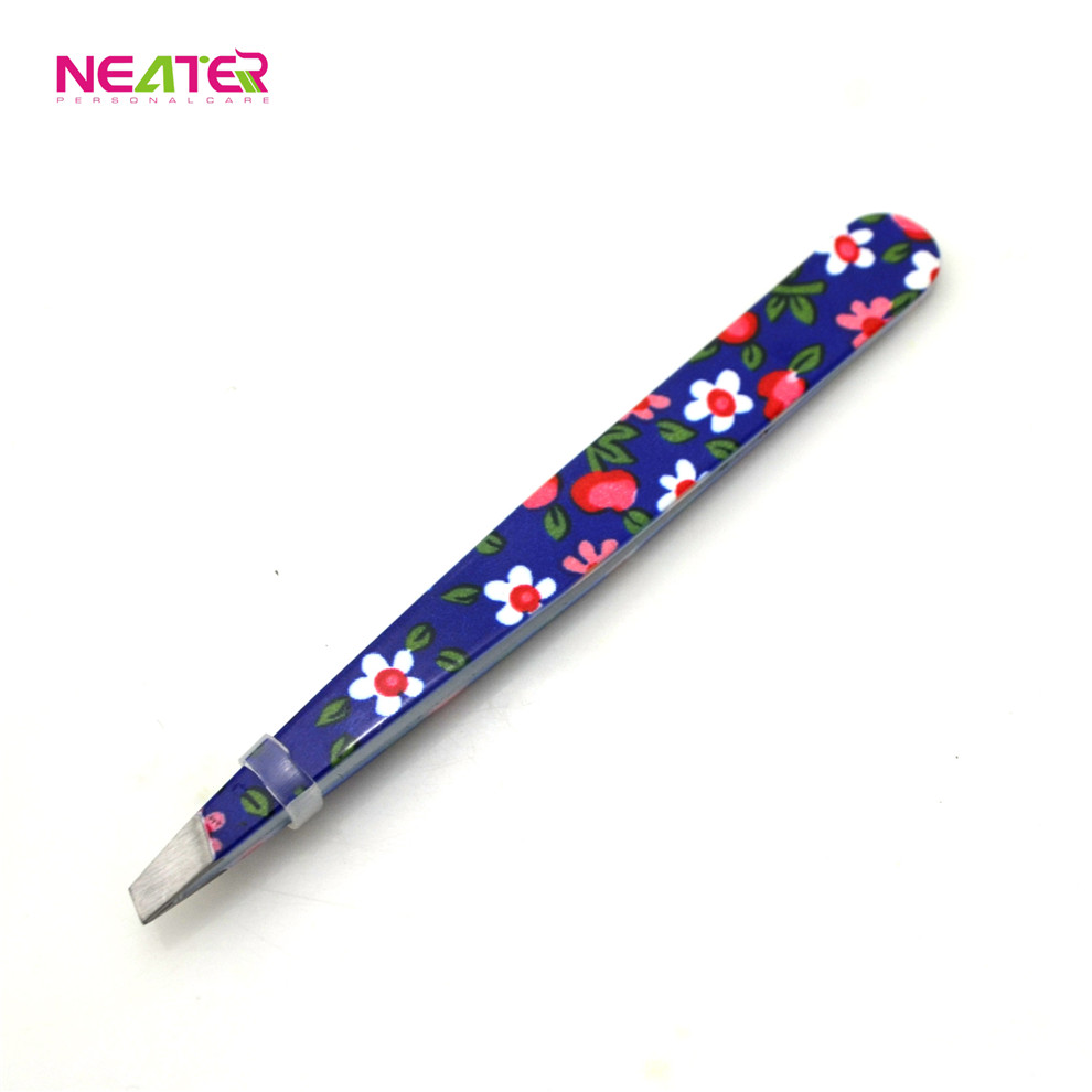 high quality flower designed colour coated stainless steel tweezer/promotion gift eyebrow tweezer
