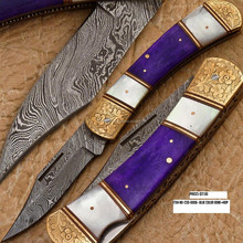 Damascus Folding Knife hand made all natural made in pakistan damascus folding knife