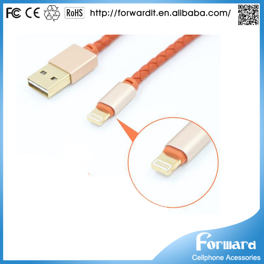 Colorful Strong Aluminum alloy+PE+leather USB Data Sync Charging Cable For Android/IOS phone