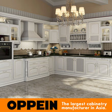 Italian modern design white solid wood kitchen cabinets in china