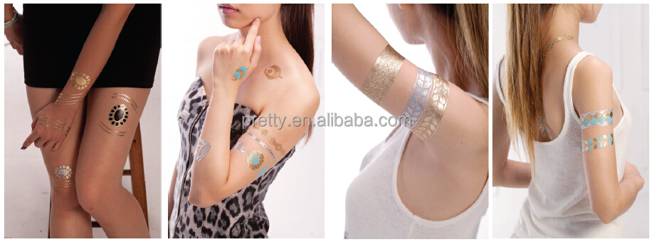 China Gold Foil Temporary Tattoos Sticker Easy Application Good Sticky Lasts Up To 7 Day Ankle Tattoo Sticker