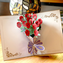rose bouquet three-dimensional pop up greeting card for mothers