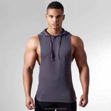 Wholesale custom men muscle gym hoodie workout fitness hoodie pullover sleeveless fleece hoodie