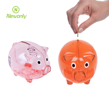 Hot-Selling Lovely custom logo and color plastic piggy coin bank for kids