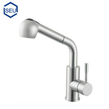Stainless steel hot and cold kitchen faucet pull out spray