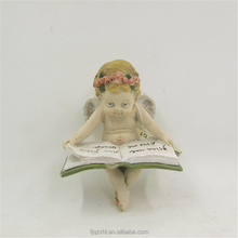Lovely Miniature Cherb Reads Book Statue Resin Wing Baby Angel Figurine Ornament Gift