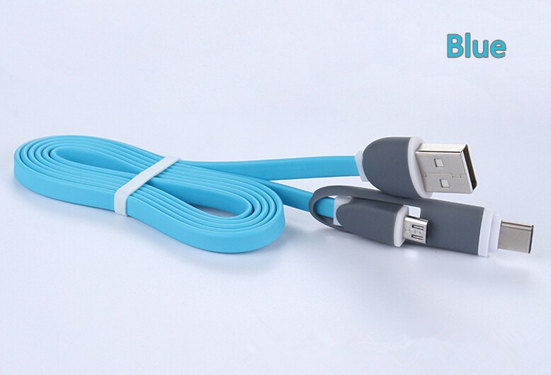 Multi-function 2 in 1 Flat Noodle Micro USB and type C USB Data Charger Cable