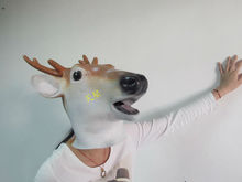 Deer Reindeer Mask Latex Rudolph Animal Costume Accessory Prop Christmas Xmas