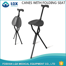 Best Product three legged canes Aluminum frame and PP seat folding stool walking stick for elderly