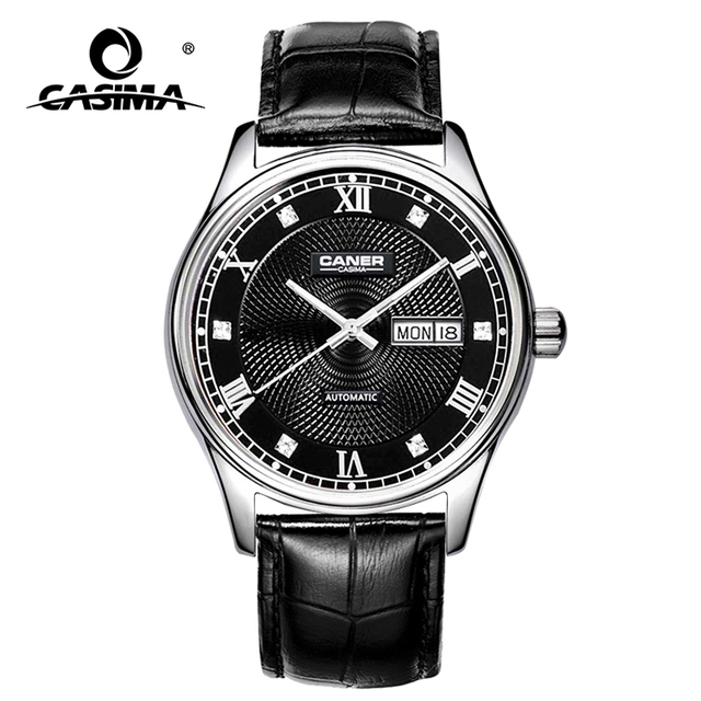 Luxury black color sapphire glass genuine leather strap japan movt quartz diamond watch for business man