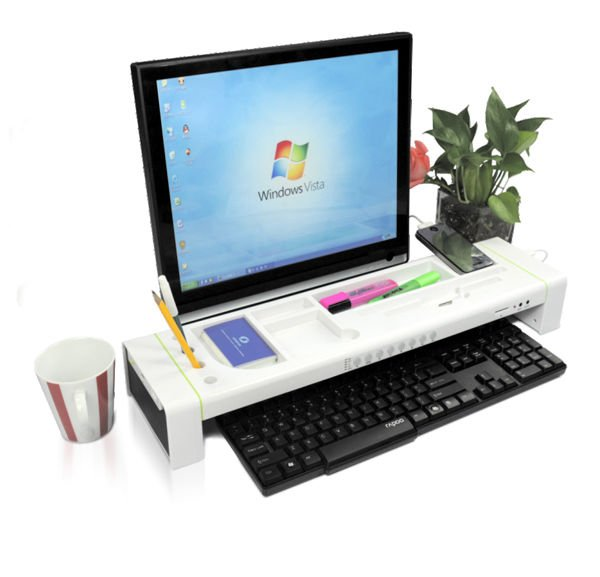 Space Saving Furniture,stationery shelf on desk with bluetooth speaker