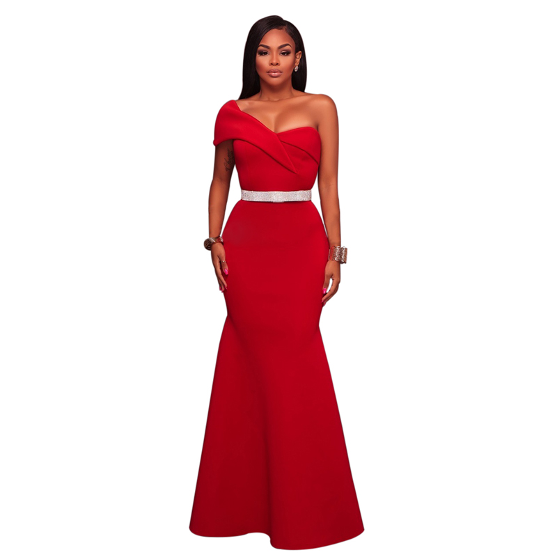 Wholesale Women Black Sexy One Shoulder Ponti Gown Evening Dress