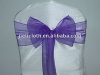 Purple organza chair sashes