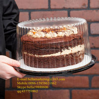plastic cake container with dome lid/black base, Plastic transparent birthday cake box