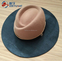 winter wool felt fedora hat with leather brim
