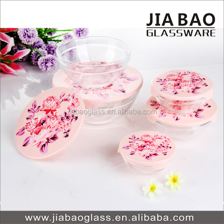Hot sale home goods microwave glass bowl 5 pcs glass bowl set cheap glass sugar bowl with lid