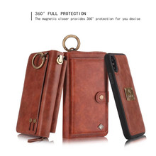Most popular zippered Multifunctional Magnetic Flip PU Leather Wallet Mobile Phone Case for iPhone X case