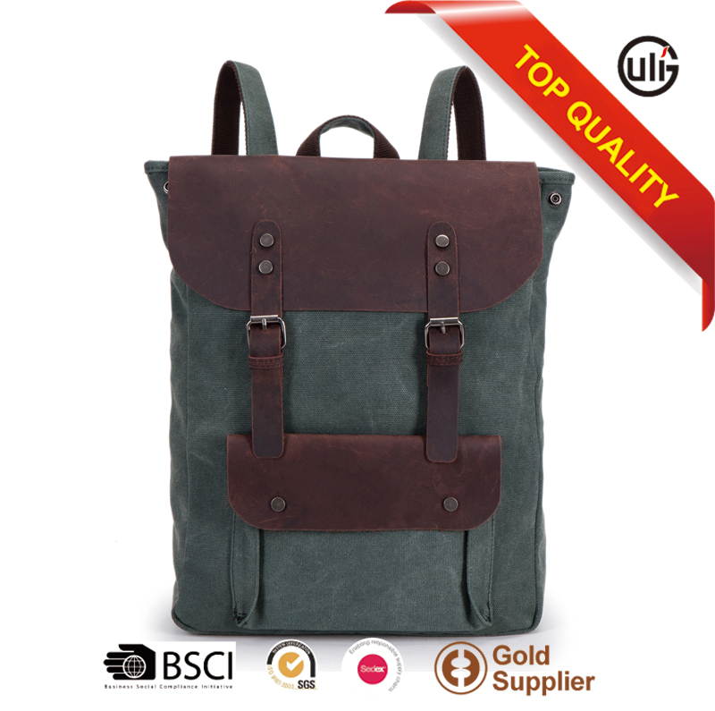China bags supplier high quality canvas school bags leather laptop backpack
