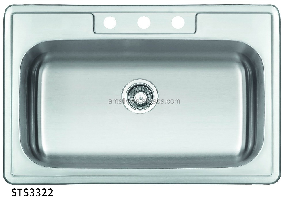 stainless steel kitchen top mount sink with cupc for SINGLE bowl STS33222