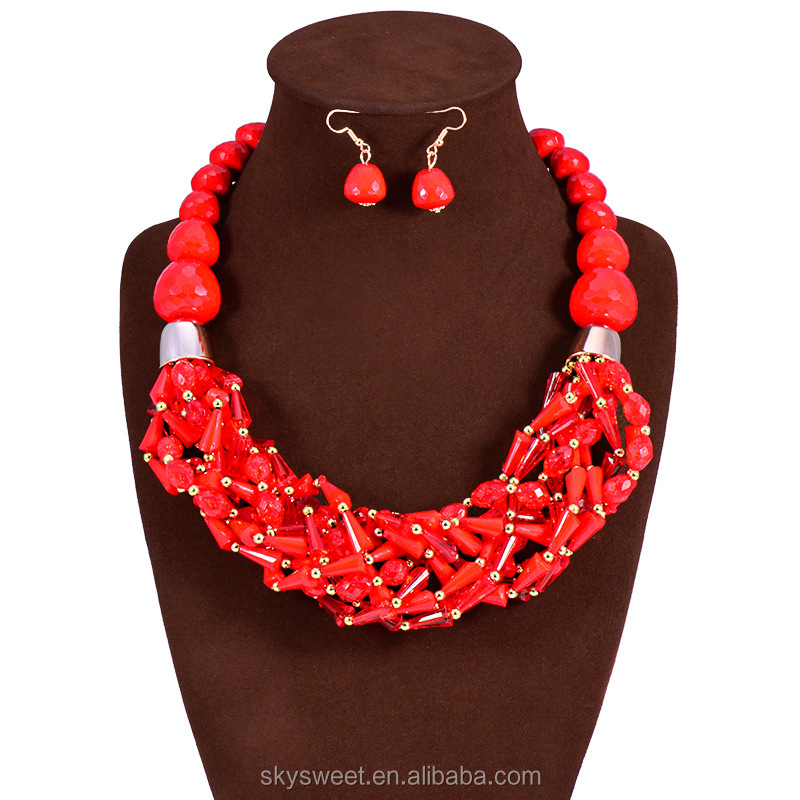 african acrylic beads necklace set, designer african necklaces(SWTJU1187)
