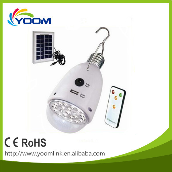 e27 remote control rechargeable led bulb light/solar bulb /led energy saving lamp with solar panel