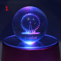 custom 3d laser engraving glass led ball crystal globe for home decoration bithday gift
