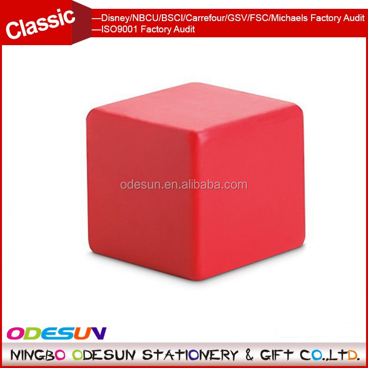 Universal NBCU FAMA BSCI GSV Carrefour Factory Audit Manufacturer reliever squeeze toy foam rubber red anti stress cube