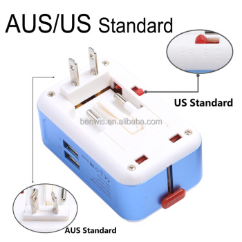 Safety Charging All in One Universal Plug Travel Adapter 2 USB 2.1A World Travel AC Power Charger Adaptor with AU US UK EU Plug