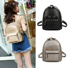 New Fashion Women Girls Leather Backpack Rivet Woven Small Bag Zipper Multi Pockets Hiking Travel Bag Gray/Gold/Black