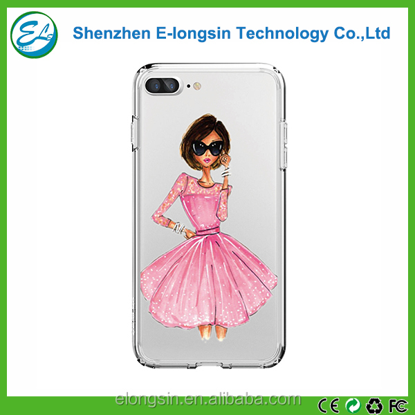 Elongsin Wholesale Cheap Soft Clear TPU Funny Mobile Phone Case For iPhone 7 Plus