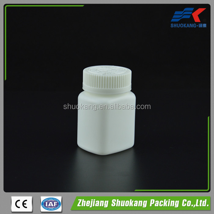 Wholesales Recycled White HDPE Square Plastic Pharmacy Bottle for Pill Drugs Packaging
