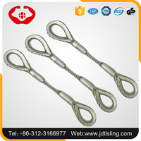 Industrial rigging wire rope lifting slings with thimbles