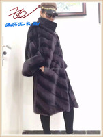 2015 Top selling long style mink fur coat with three-quarter sleeves
