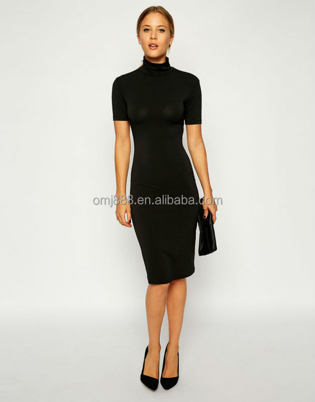 Bodycon Dress in Crepe with Polo Neck