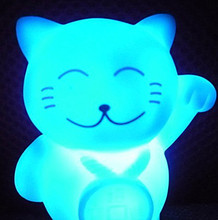 Colorful LED cat Nightlight flash luminous small children toys Wholesale gift items