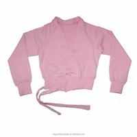 Light Pink Ballet Dance Tops Cotton/Lycra Long Sleeves Top Cross-overs Kids Tie-up Women Warm-ups