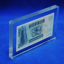 Clear square acrylic banknotes block pmma plexiglass acrylic Acrylic banknotes paperweight