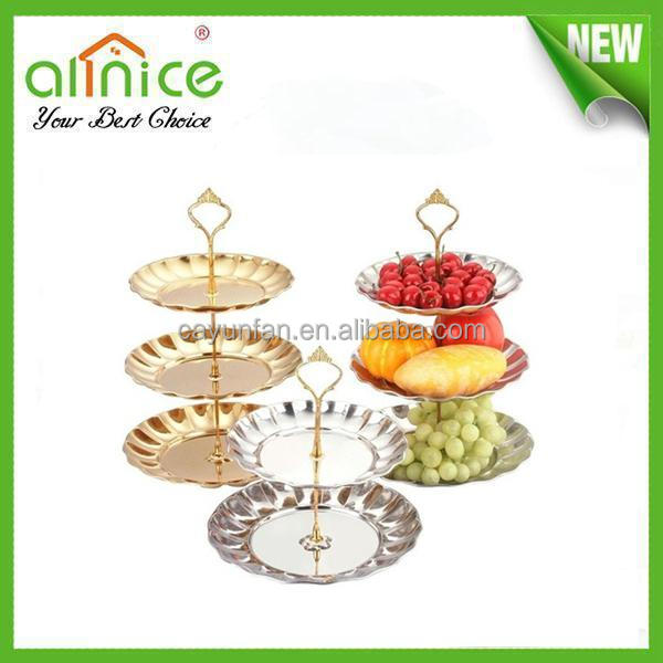 3 tiers gold-plated fruit plate/stainless steel fruit dish/deco fruit tray with metal holder