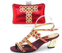 Deep red color ladies wedding shoes and bag to match 1308-35-4