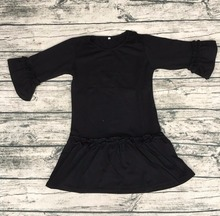 baby dress pictures 2017 new frock design girls long sleeve dress in black color children clothes