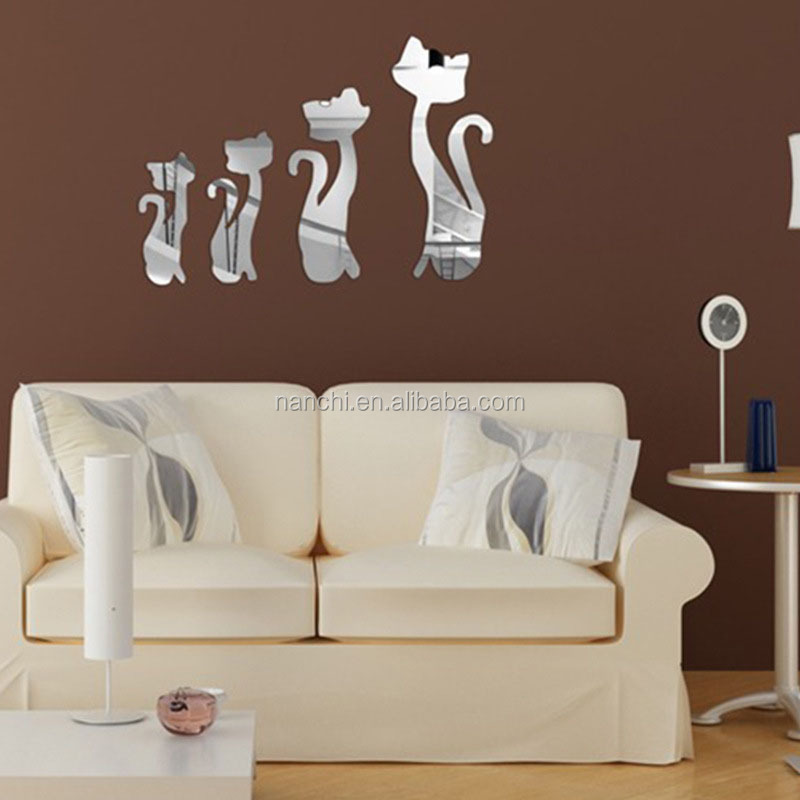 Removable Acrylic 3D Cute Cats Mirror Wall Sticker Home Decals TV Background Bathroom Living Bedroom Wall Paper Wall Stickers