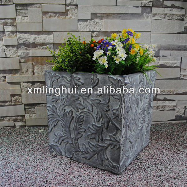 Relief of Flower Fiberglass Cubical Flower Tubs
