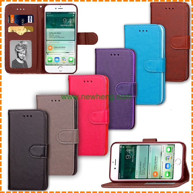 Fashion Matte Leather Magnetic Flip Case for iPhone 6 6s,Stand Wallet with Photo Frame Phone Cover for iPhone 6