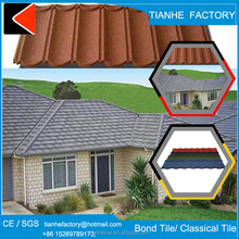 fish-scale tile synthetic resin covered insulative aluminium zinc sand coated metal roofing tiles