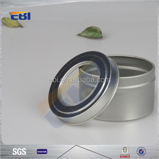 Aluminum blank hinged tin metal tin box with window
